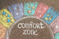 Comfort zone concept. Comfort zone circle surrounded by rainbow Royalty Free Stock Photography