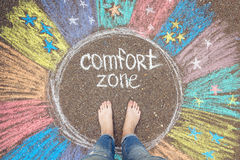 Comfort zone concept. Feet standing inside comfort zone circle. Comfort zone concept. Feet standing inside comfort zone circle surrounded by rainbow stripes royalty free stock photos