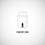 Comfort Zone Graphic Design. A man is sitting in the bottle of comfort zone vector illustration