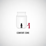 Comfort Zone Graphic Design. A man is sitting in the bottle of comfort zone while another is outside Stock Photo