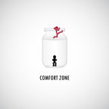Comfort Zone Graphic Design. A man is sitting in the bottle of comfort zone while another tring to climb out stock illustration