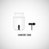 Comfort Zone Graphic Design. A man is sitting in the bottle of comfort zone although the success way is right away stock illustration