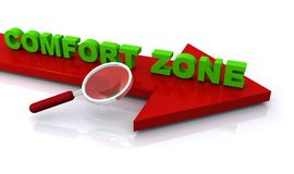 Comfort zone graphics. Green 3D text graphics comfort zone on red arrow with magnifying glass stock illustration