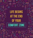 Comfort zone inspiration quote illustration. Comfort zone inspiration quote with colorful elements in line style design illustration. Ideal for print poster and stock illustration