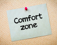 Comfort Zone. Message. Recycled paper note pinned on cork board. Concept Image stock image