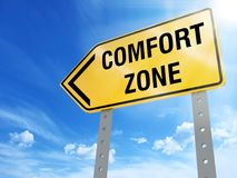 Comfort zone sign. On blue sky background,3d rendered stock illustration