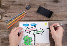 Comfort Zone - Success signpost drawn on white paper Royalty Free Stock Photos