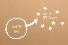Comfort zone versus where the magic & success happens Stock Photo