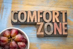 Comfort zone word abstract in wood type Royalty Free Stock Images