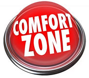 Comfort Zone Words Button Safety Security. Comfort Zone words on a red light or button to illustrate a safe or secure place and fear of trying new things stock illustration