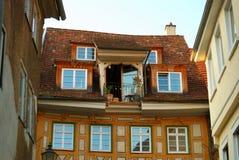 Comfortabel balkon in oude stad Stuttgart-Esslingen Stock Afbeeldingen