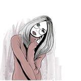 Comfortabel meisje in glazen stock illustratie