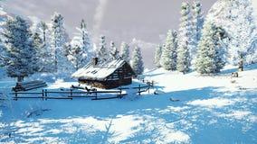 Comfortabel weinig hut onder sneeuwsparren royalty-vrije illustratie