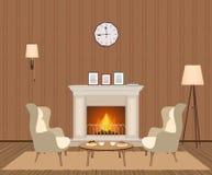 Comfortabel woonkamerbinnenland met open haard, leunstoelen, klok, lampen en photoframes Binnenlands ruimteontwerp royalty-vrije illustratie