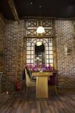 Comfortabele atmosfeer van het binnenland in het koffie-restaurant royalty-vrije stock afbeeldingen