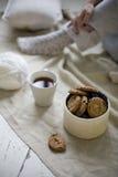 Comfortabele de wintersamenstelling met kop thee en koekjes royalty-vrije stock fotografie