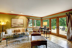 Comfortabele familieruimte met stakingsdek Stock Foto's