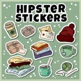 Comfortabele geplaatste hipsterstickers Inzameling van in etiketten stock illustratie