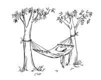 Comfortabele hangmat in een tuin Vectorlinrtekening Royalty-vrije Stock Afbeeldingen