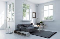 Comfortabele hoek in een modieuze witte woonkamer Royalty-vrije Stock Foto's