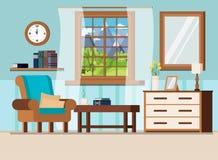 Comfortabele huis binnenlandse achtergrond met de bergenlandschap van de vensterzomer royalty-vrije illustratie