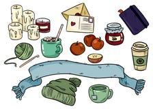 Comfortabele hyggekrabbels Leuke stickers voor ontwerpers en notitieboekjes Kaarsen, cacao, cacao, sjaal, hoed, koffie, het breie stock illustratie