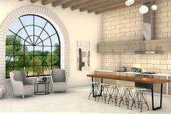 Comfortabele keuken Royalty-vrije Stock Foto's