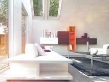 Comfortabele Moderne Ontwerpwoonkamer royalty-vrije illustratie