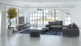 Comfortabele ruime grijze en witte woonkamer royalty-vrije stock foto