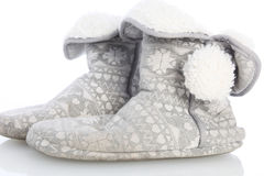 Comfortabele warm furlined pantoffels Stock Foto