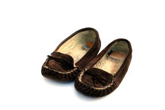 Comfortable. Pair of old well worn slippers - sheepskin Stock Image