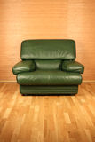 Comfortable armchair. View of a comfortable green leather armchair Stock Image