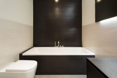 Comfortable bathroom. Of a modern house, bathtub view Royalty Free Stock Images