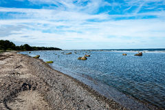Comfortable beach of the baltic sea with rocks and green vegetat Stock Image