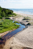 Comfortable beach of the baltic sea with rocks and green vegetat Royalty Free Stock Photography
