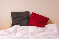 Comfortable bed. Shot of comfortable bed with pillows on it Royalty Free Stock Photo