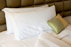 Comfortable bed. With pillows and quilt cover Royalty Free Stock Photos