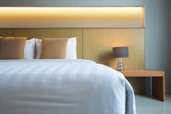 Comfortable bed. With headboard,Thailand Royalty Free Stock Photography