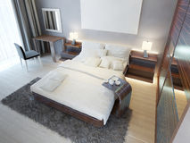 Comfortable bedroom in Contemporary style with brown furniture z Royalty Free Stock Images