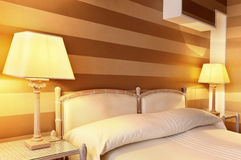 Comfortable bedroom, double bed Royalty Free Stock Image