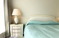 Comfortable bedroom, double bed Stock Photo