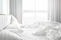 Free Comfortable Bedroom,messy Bedding Sheets And Duvet With Wrinkle Messy In The Bedroom Stock Photo - 148003340