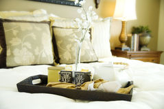 Comfortable bedroom with tray of tea Royalty Free Stock Photography