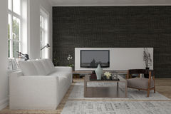 Comfortable black and white living room interior. Comfortable modern black and white living room interior with a sofa, wall mounted television and carpets under Stock Photos