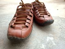 Comfortable brown Rajasthani lace shoes stock photos
