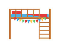 Comfortable bunk bed cozy baby room decor children bedroom interior furniture vector. Stock Photo