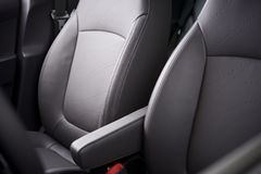 Comfortable Car Seats. Grey Leather Upholstery. Vehicle Interior Royalty Free Stock Photography