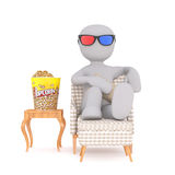 Comfortable Cartoon Man Watching 3d Movie at Home. Generic Gray 3d Cartoon Figure Watching 3d Movie from Comfort of Home, Sitting in Arm Chair with Feet Up on Stock Image