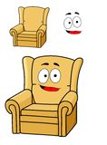 Comfortable cartoon yellow upholstered armchair Royalty Free Stock Image