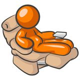 Comfortable Chair. An illustration of an orange mansitting in a comfortable chair, isolated on a white background Stock Photos